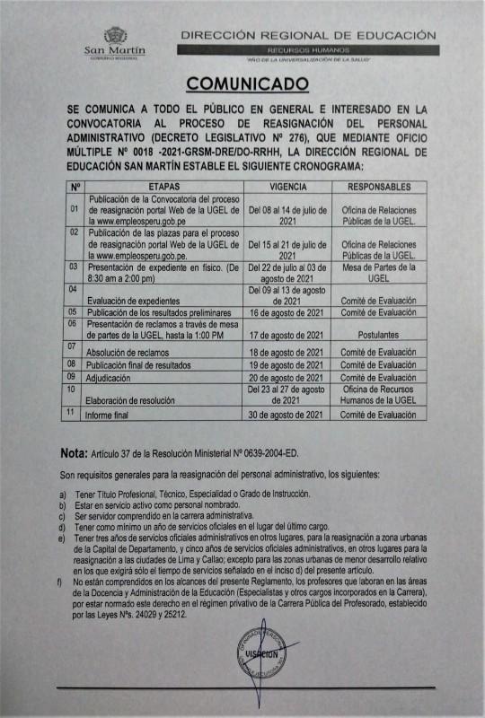 COMUNICADO DRE SAN MARTIN SOBRE EL PROCESO DE REASIGNACION DE TRABAJADORES ADMINSTRATIVOS.