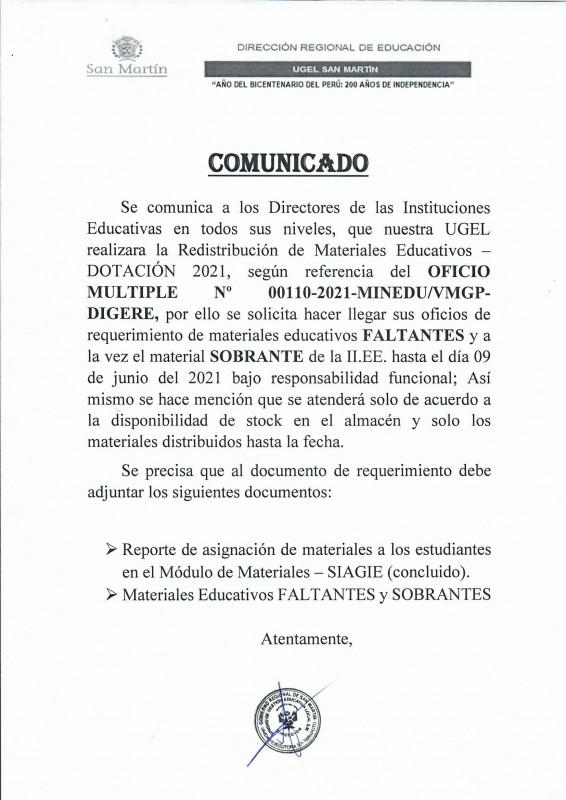 COMUNICADO UGEL SAN MARTÍN - REDISTRIBUCIÓN DE MATERIALES EDUCATIVOS - DOTACIÓN 2021