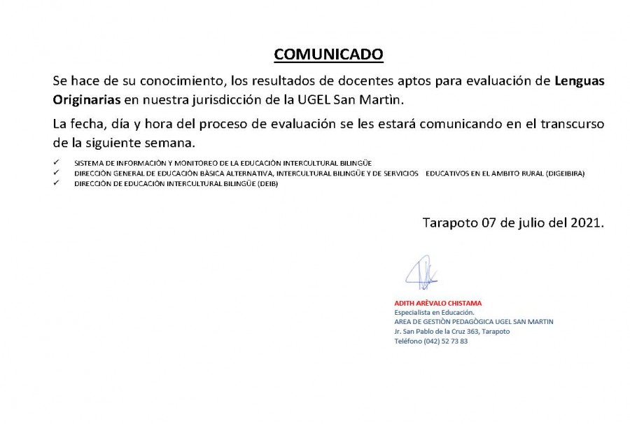 COMUNICADO UGEL SAN MARTÍN