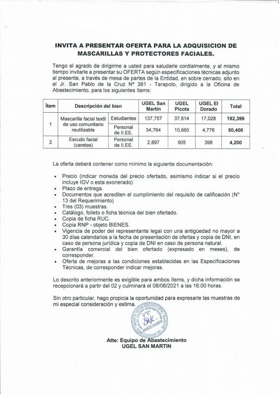 UGEL SAN MARTÍN INVITA A PRESENTAR OFERTA PARA LA ADQUISICIÓN DE MASCARILLAS Y PROTECTORES FACIALES